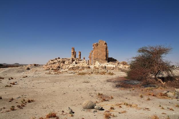 Temple égyptien antique de toutankhamon sur l'île de soleb, soudan, nubie