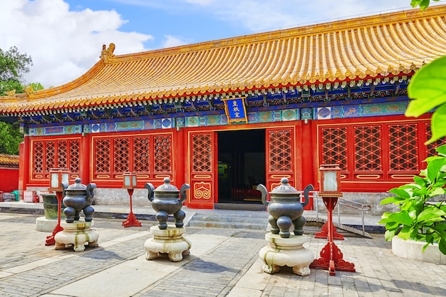 Temple de la terre (également appelé parc ditan), pékin, chine.traduction : «pavillon huangshi»