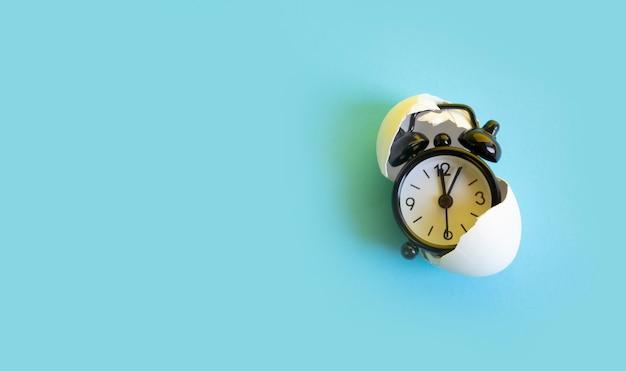 Temps dans la coquille d'oeuf, concept de montre