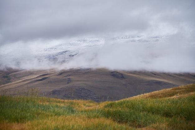Temps nuageux et froid dans la région de la steppe. le plateau ukok de l'altaï. de fabuleux paysages froids. tout le monde autour