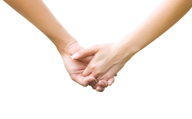 Tenant les mains couple isolé