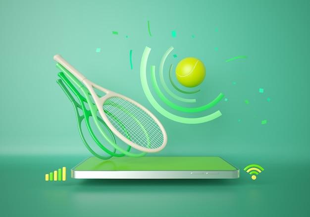 Tennis avec un smartphone. jeu en ligne d'application sportive. programme d'entraînement au tennis. conception de concepts sportifs. espace de copie de fond vert. la connexion mobile du magasin d'achat en ligne. illustrateur 3d