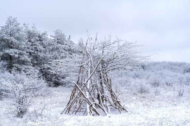 Tente faite de fines branches, paysage d'hiver.