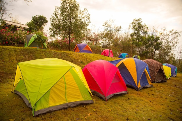 Tentes de camping colorées en thaïlande.