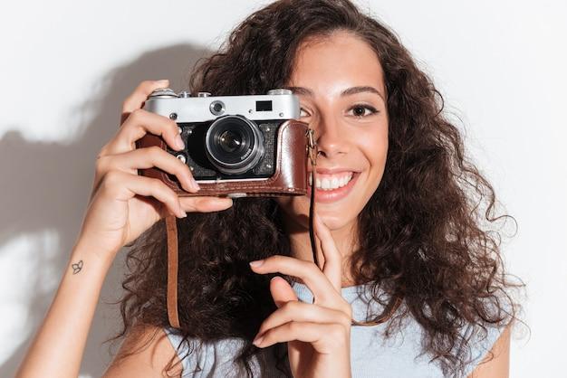 Tenue femme, appareil photo, près, elle, figure