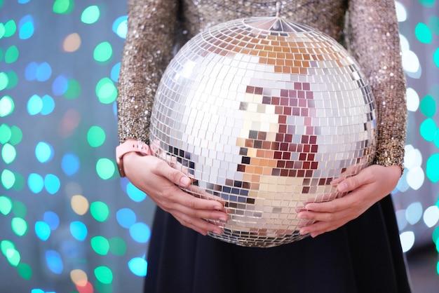 Tenue femme, boule disco, à, fête