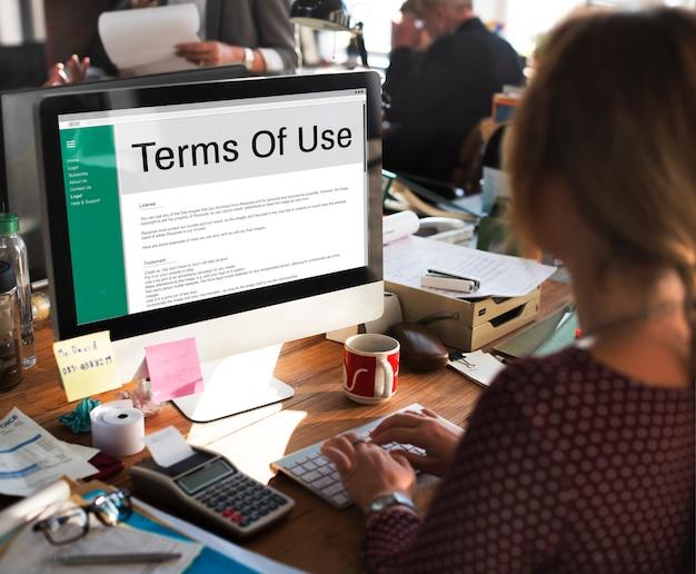 Termes d'utilisation conditions règle politique règlement concept