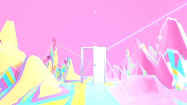 Terrain arc-en-ciel rendu en 3d avec des étoiles de tubes carrés brillants et une porte mystérieuse