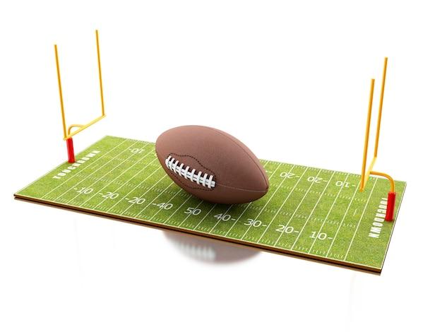 Terrain de football américain 3d avec ballon.