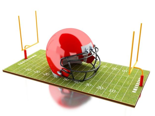 Terrain de football américain 3d avec casque rouge.