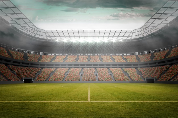 Terrain de football dans un grand stade