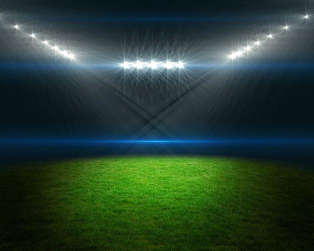 Terrain de football avec des lumières vives
