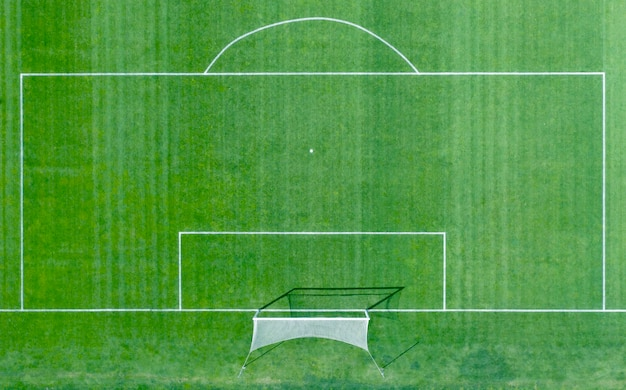 Terrain de football avec des marques blanches