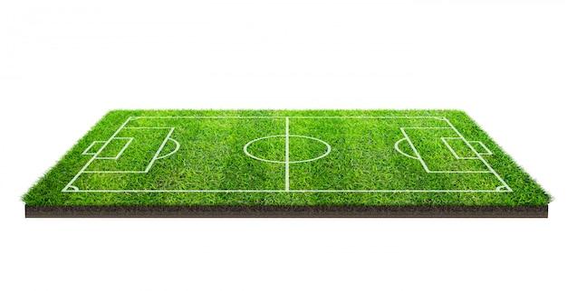Terrain de football ou terrain de football sur l'herbe verte isolée