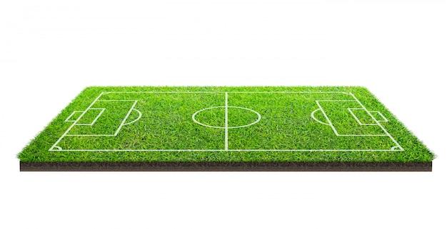 Terrain de football ou terrain de football sur la texture du modèle d'herbe verte isolé sur fond blanc avec un tracé de détourage. fond de stade de football avec motif de ligne.