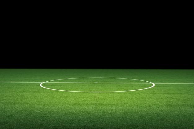 Terrain de football vide de rendu 3d la nuit