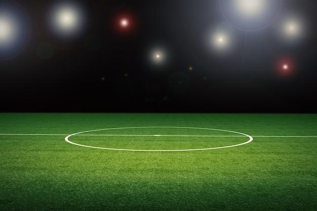Terrain de football vide de rendu 3d avec stade la nuit