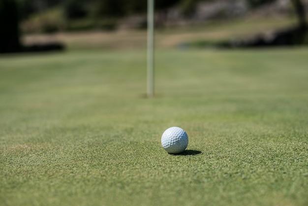 Terrain de golf avec balle blanche près du trou