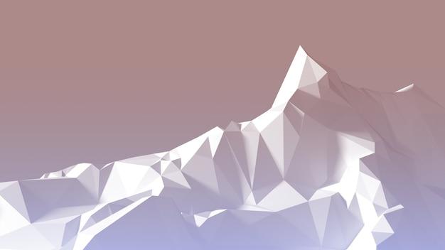 Terrain montagneux d'image polygonale au lever du soleil. illustration 3d
