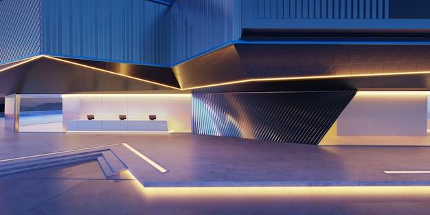 Terrain vide devant les bâtiments modernes rendu 3d photoréaliste