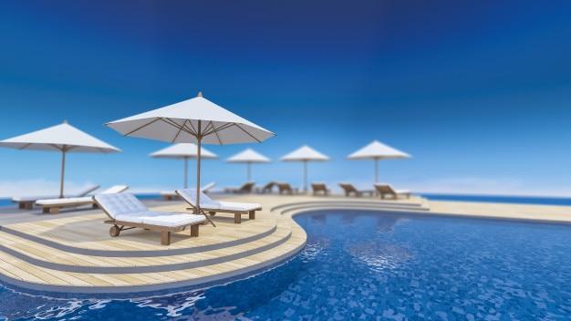 Terrasse 3d vue sur la mer