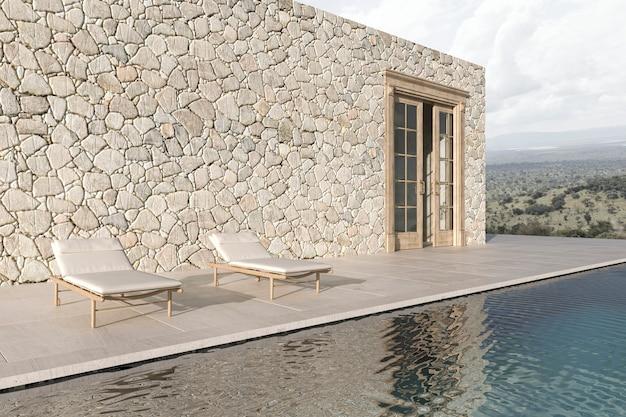 Terrasse au design moderne scandinave avec chaise longue et piscine illustration de rendu 3d