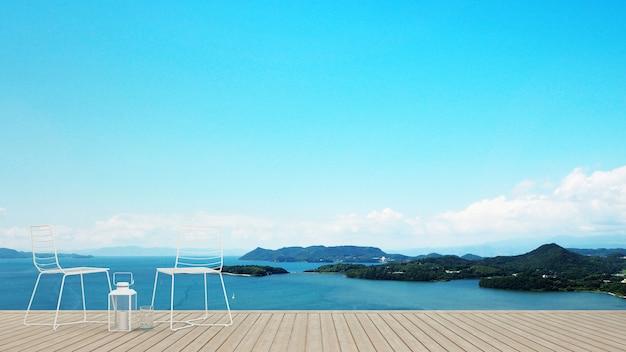 Terrasse en bois avec vue mer en hôtel ou copropriété