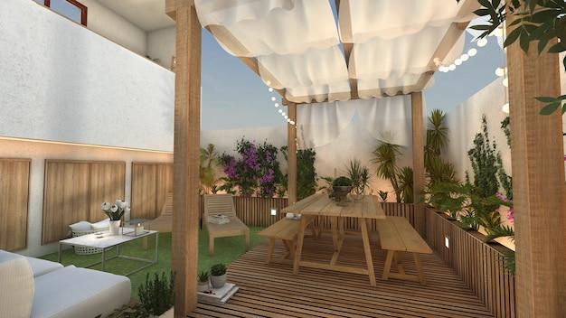 Terrasse avec coin repas et repos et barbecue