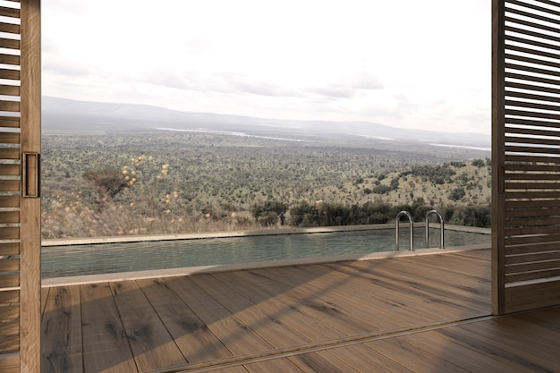 Terrasse extérieure en bois au design moderne scandinave avec vue sur les montagnes illustration de rendu 3d