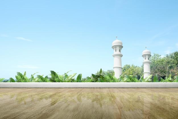 Terrasse de la mosquée avec parquet et plantes vertes