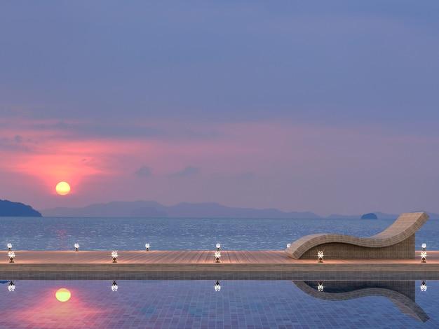 Terrasse de piscine en bois moderne rendu 3d, il y a le crépuscule avec la mer et le coucher du soleil