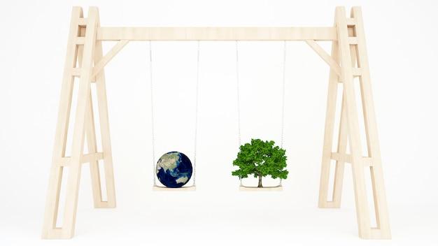 Terre et arbre sur une balançoire en bois - terre et arbres sur une balançoire en bois au printemps