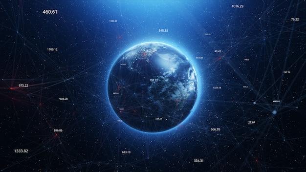 Terre bleue abstraite dans le fond du plexus spatial