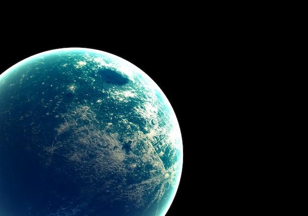 Terre bleue dans l'espace et la galaxie. globe avec l'ozone externe de lueur et le nuage blanc.