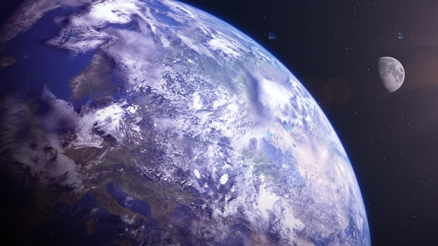 Terre comme une exoplanète avec exomoon