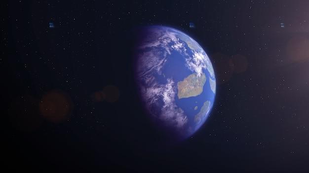 Terre comme une exoplanète avec des îles