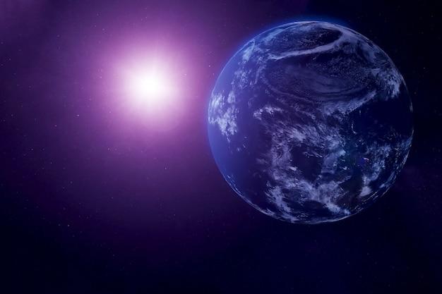 La terre depuis l'espace en lumière ultraviolette les éléments de cette image ont été fournis par la nasa
