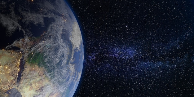 Terre et espace galaxie voie lactée toile de fond illustration 3d