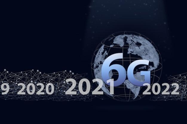 Terre d'hologramme virtuel, 6g, année 2021 sur fond bleu foncé. la notion de communication