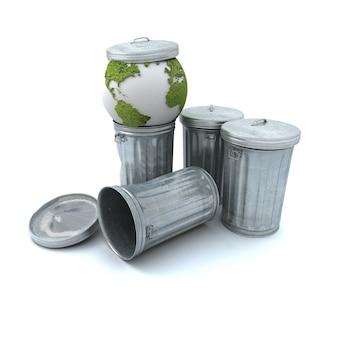 Terre malade jetée dans la poubelle