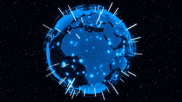 La terre numérique 3d montre le concept de réseau mondial