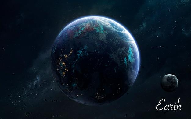 La terre. planètes de qualité impressionnante du système solaire. image scientifique parfaite en 5k. éléments de cette image fournis par la nasa