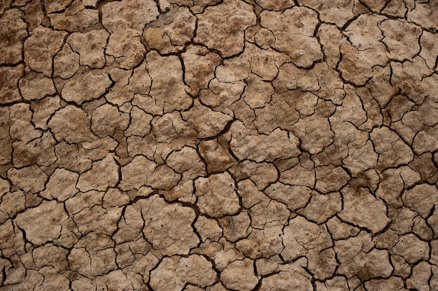 Terre sèche craquelée, texture du sol sec craquelé