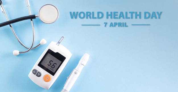 Testeur de diabète avec stéthoscope
