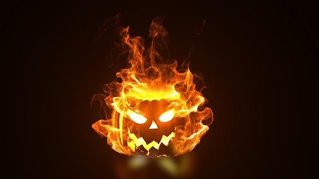 Tête de citrouille d'halloween en feu.