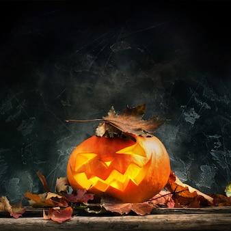 Tête de citrouille d'halloween feuilles en bois