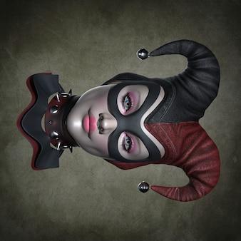 La tête d'un clown dans une coiffe. illustration 3d