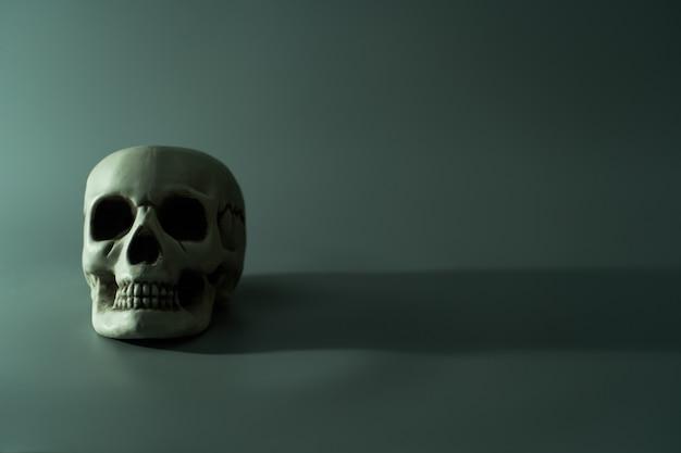 Tête de crâne mort humain. fond de fête d'halloween