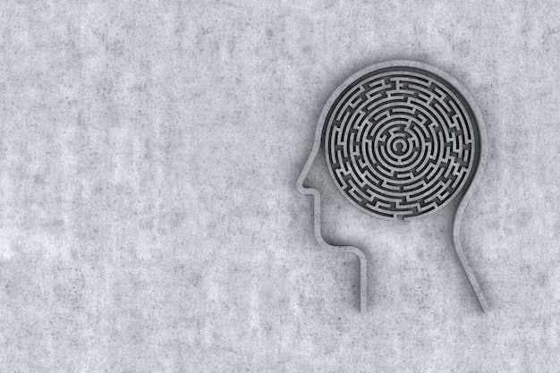 Tête humaine et à l'intérieur d'un labyrinthe avec fond de béton. rendu 3d