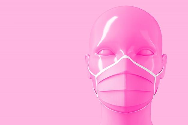 Tête à la mode brillante pour femmes dans un masque médical pour la prévention des coronavirus